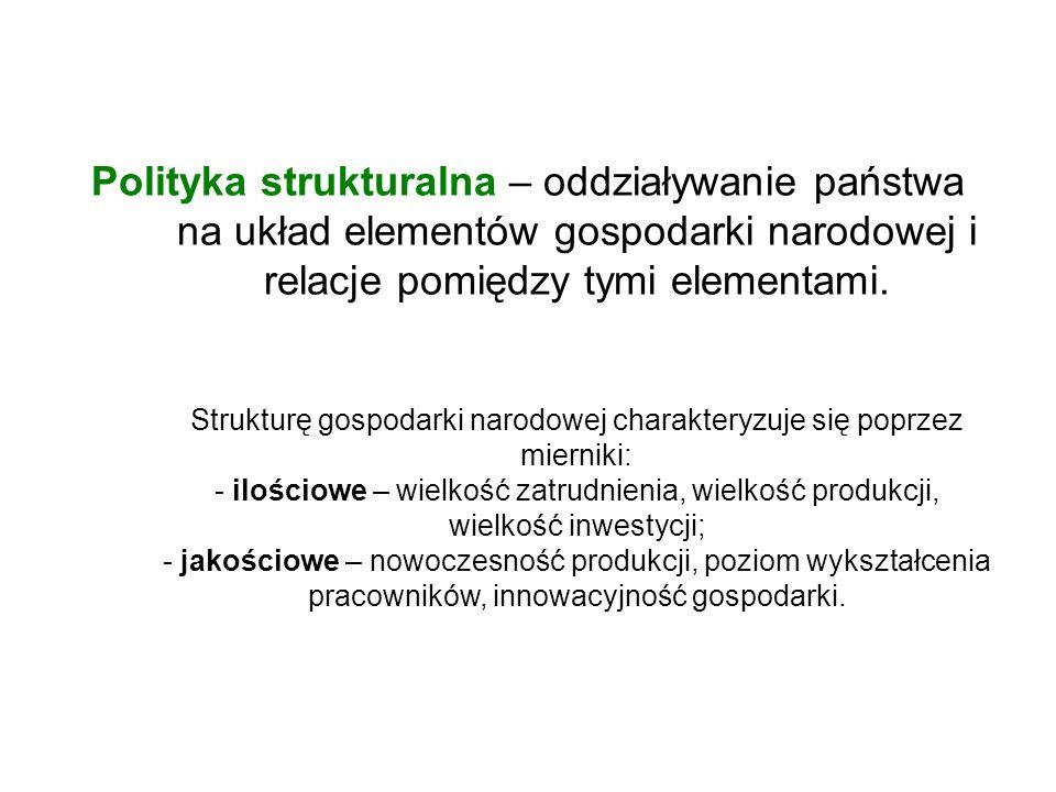 Polityka strukturalna – oddziaływanie państwa na układ elementów gospodarki narodowej i relacje pomiędzy tymi elementami.