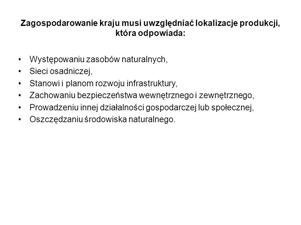 Zagospodarowanie kraju musi uwzględniać lokalizacje produkcji, która odpowiada: