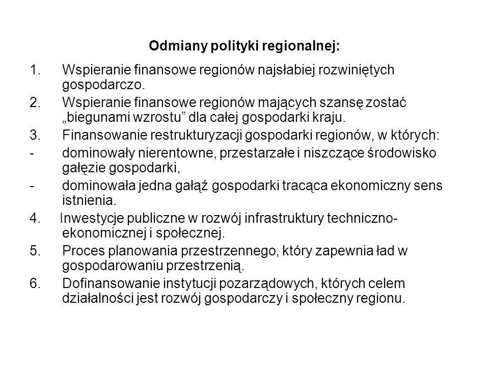 Odmiany polityki regionalnej: