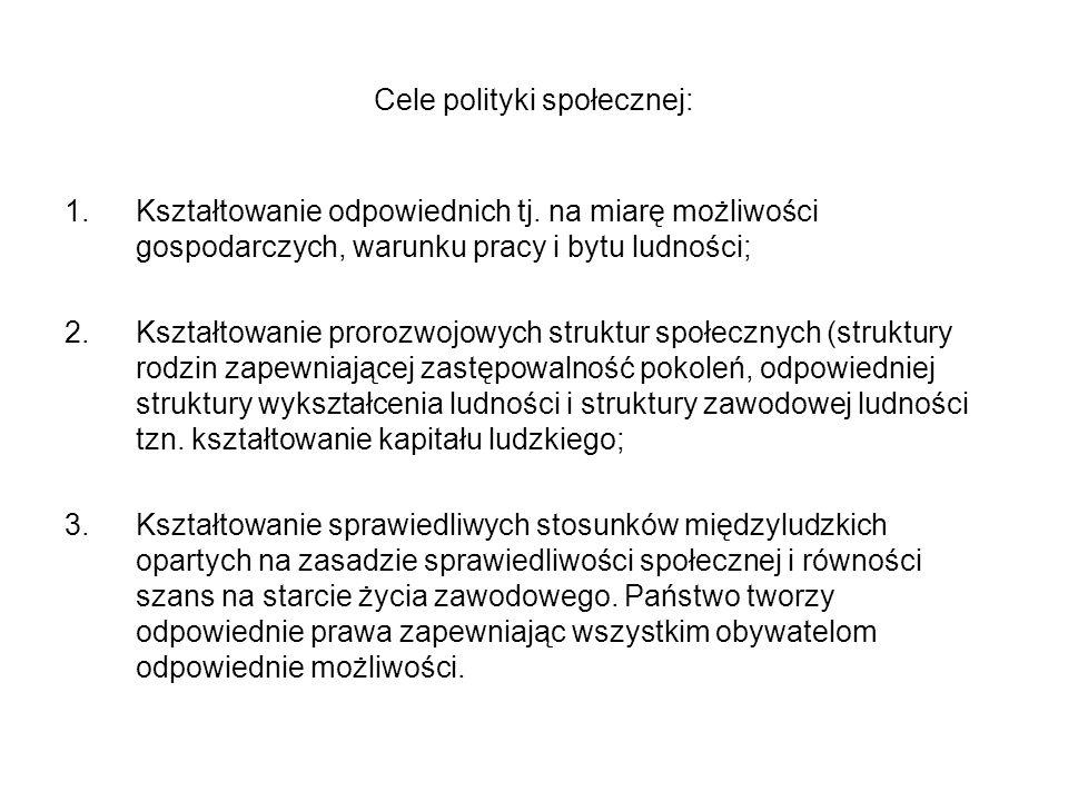 Cele polityki społecznej: