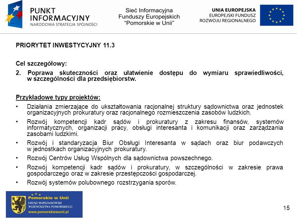 PRIORYTET INWESTYCYJNY 11.3 Cel szczegółowy: