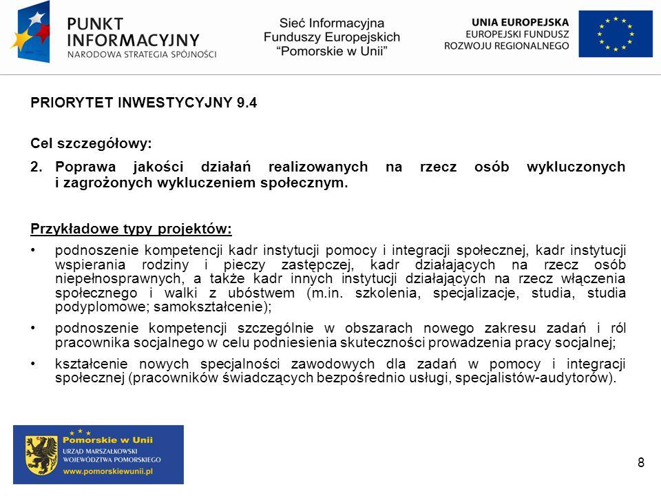 PRIORYTET INWESTYCYJNY 9.4 Cel szczegółowy: