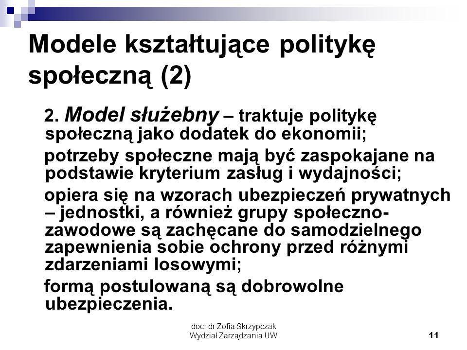 Modele kształtujące politykę społeczną (2)