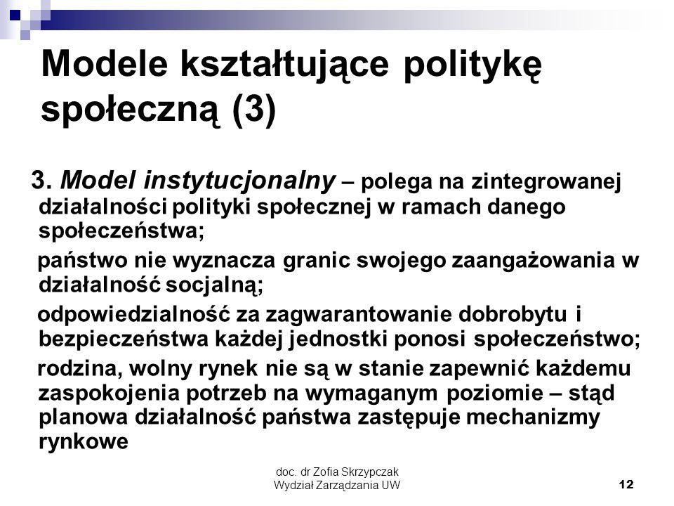Modele kształtujące politykę społeczną (3)