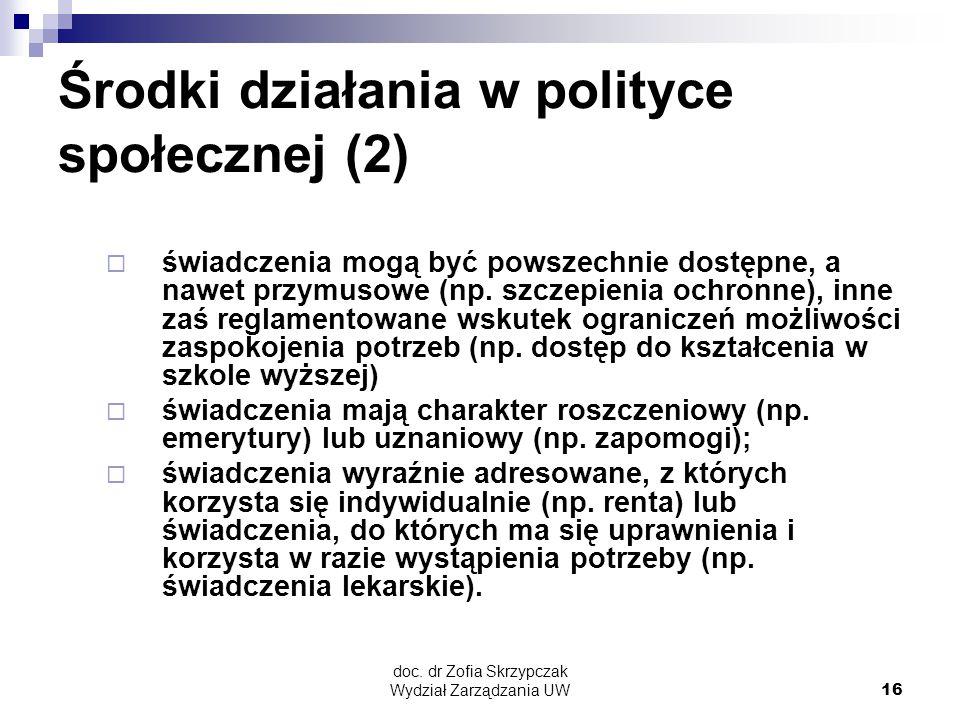 Środki działania w polityce społecznej (2)
