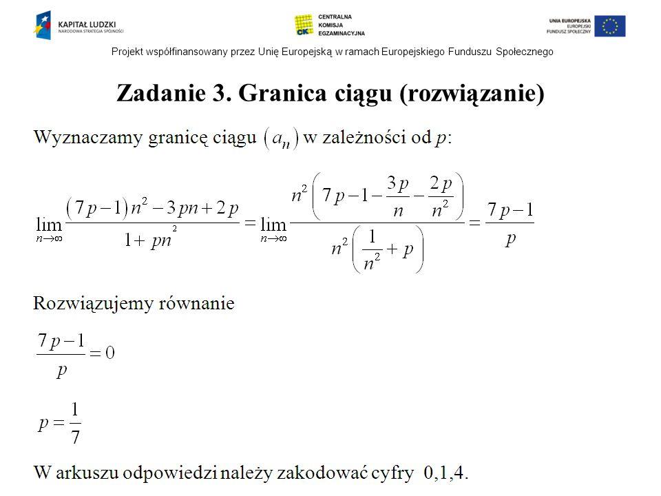 Zadanie 3. Granica ciągu (rozwiązanie)
