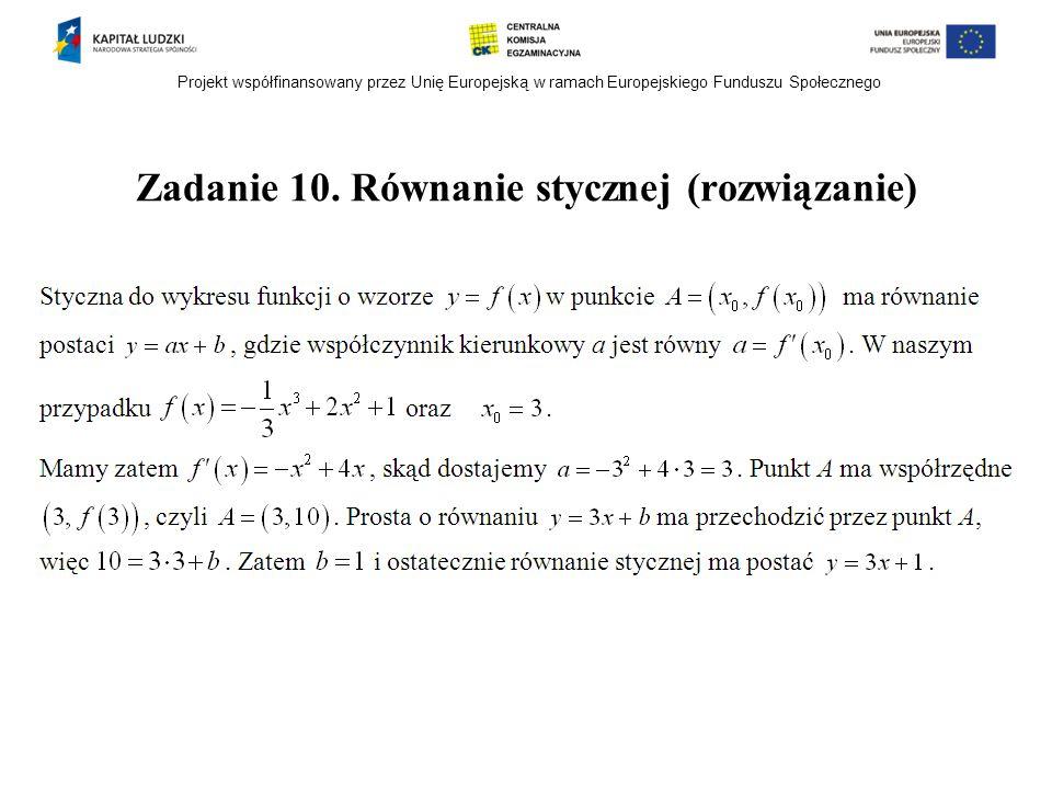 Zadanie 10. Równanie stycznej (rozwiązanie)