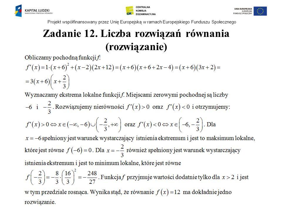 Zadanie 12. Liczba rozwiązań równania (rozwiązanie)