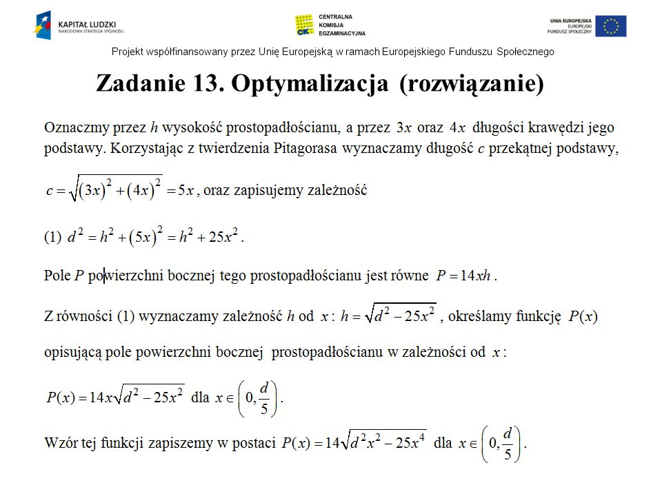Zadanie 13. Optymalizacja (rozwiązanie)