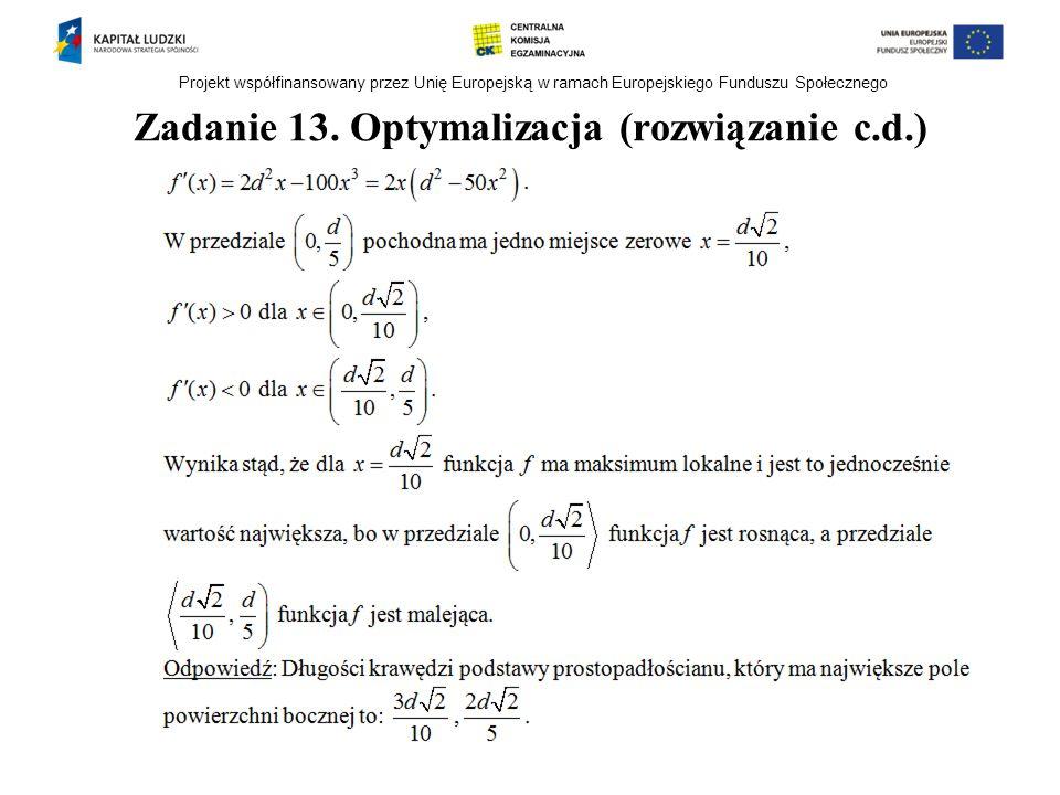Zadanie 13. Optymalizacja (rozwiązanie c.d.)