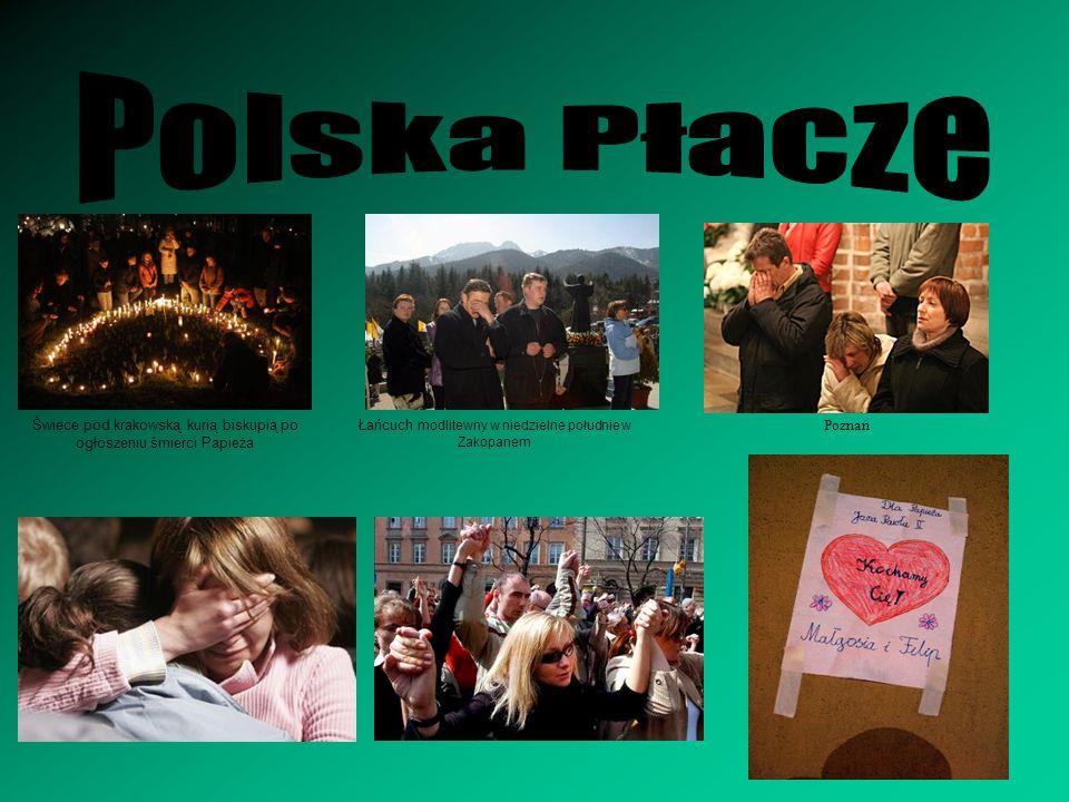 Polska Płacze Świece pod krakowską kurią biskupią po ogłoszeniu śmierci Papieża. Łańcuch modlitewny w niedzielne południe w Zakopanem.