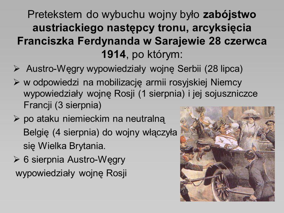 Pretekstem do wybuchu wojny było zabójstwo austriackiego następcy tronu, arcyksięcia Franciszka Ferdynanda w Sarajewie 28 czerwca 1914, po którym: