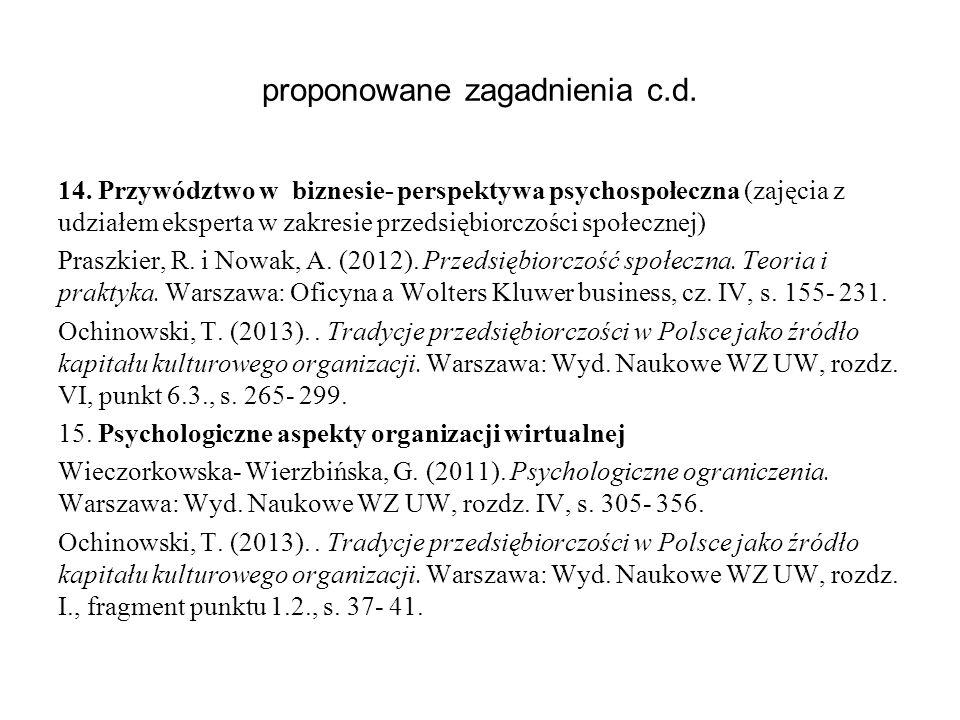proponowane zagadnienia c.d.