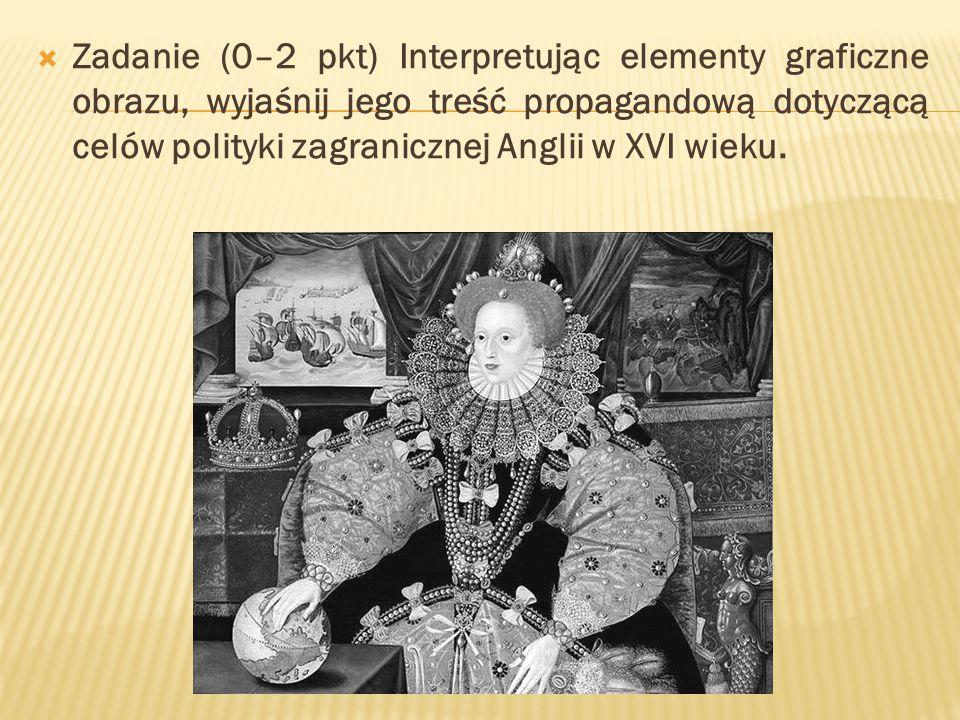 Zadanie (0–2 pkt) Interpretując elementy graficzne obrazu, wyjaśnij jego treść propagandową dotyczącą celów polityki zagranicznej Anglii w XVI wieku.