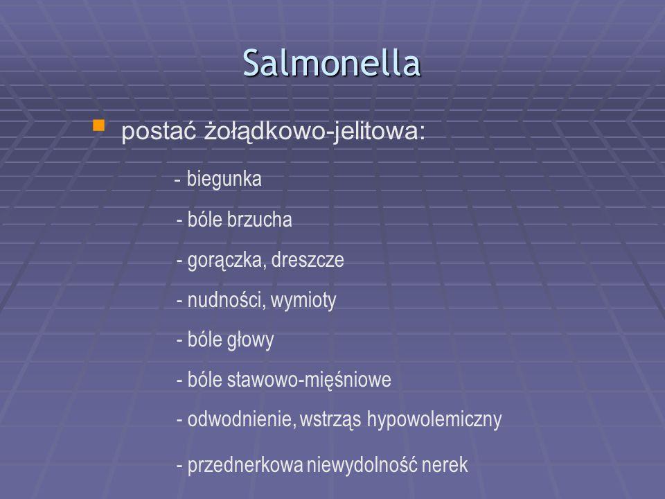 Salmonella postać żołądkowo-jelitowa: - biegunka - bóle brzucha
