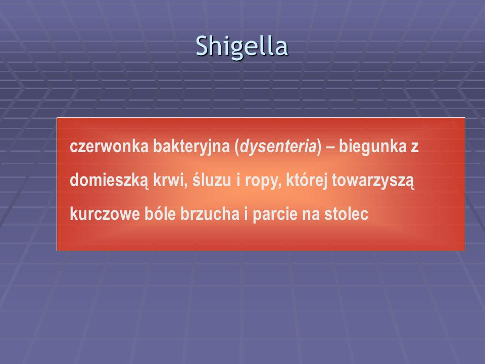 Shigella czerwonka bakteryjna (dysenteria) – biegunka z