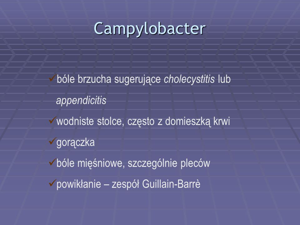 Campylobacter bóle brzucha sugerujące cholecystitis lub appendicitis