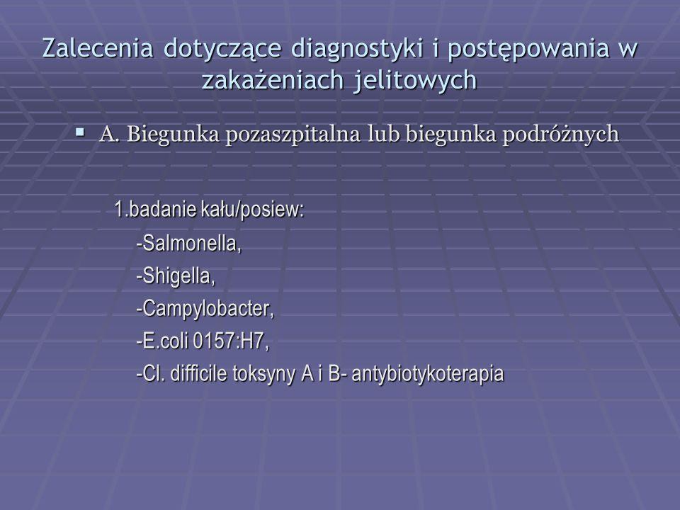 Zalecenia dotyczące diagnostyki i postępowania w zakażeniach jelitowych
