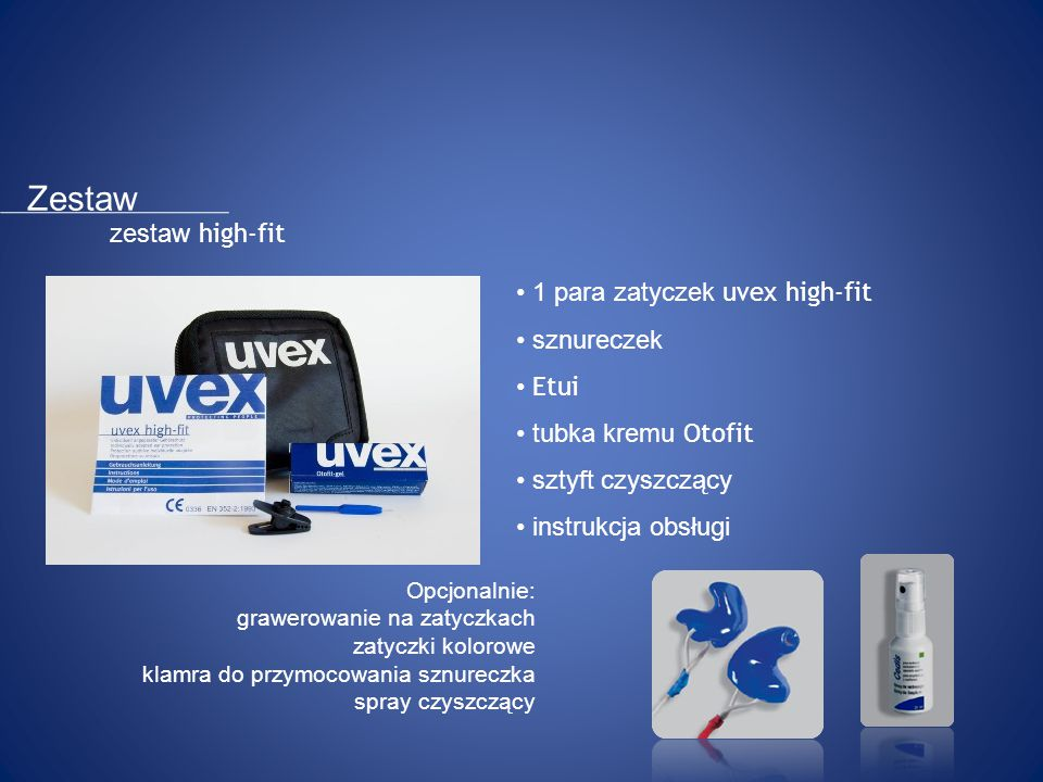 Zestaw zestaw high-fit 1 para zatyczek uvex high-fit sznureczek Etui