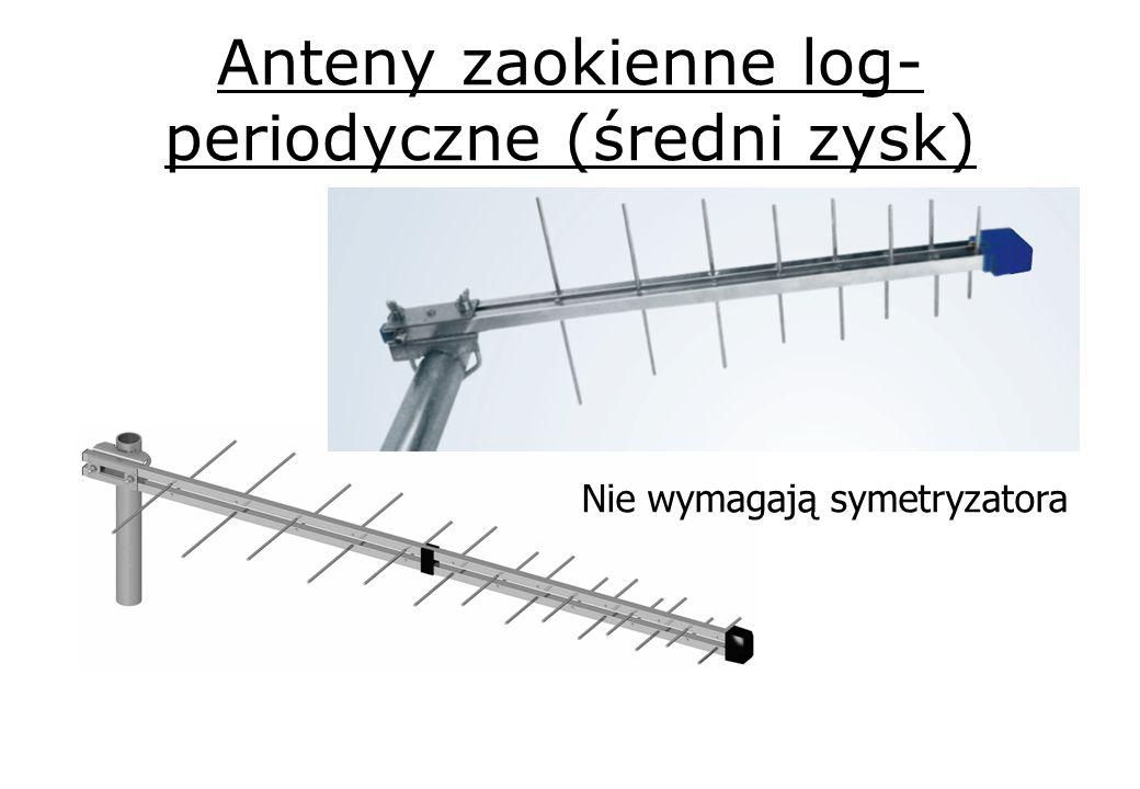 Anteny zaokienne log-periodyczne (średni zysk)
