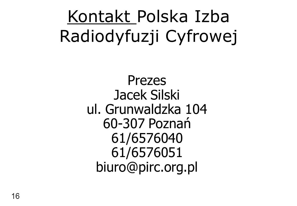 Kontakt Polska Izba Radiodyfuzji Cyfrowej
