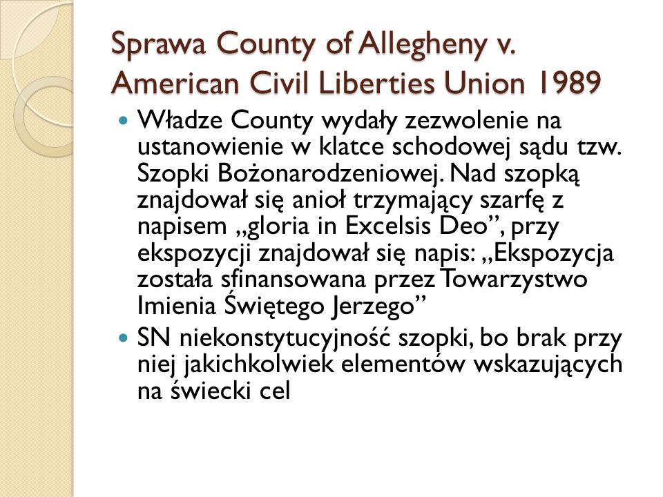 Sprawa County of Allegheny v. American Civil Liberties Union 1989