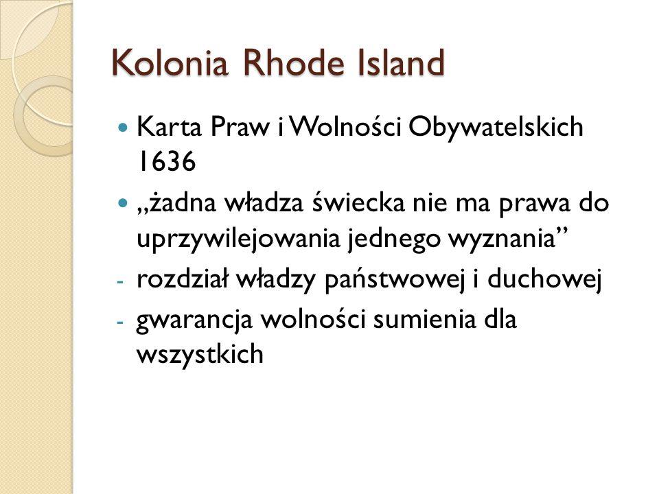 Kolonia Rhode Island Karta Praw i Wolności Obywatelskich 1636
