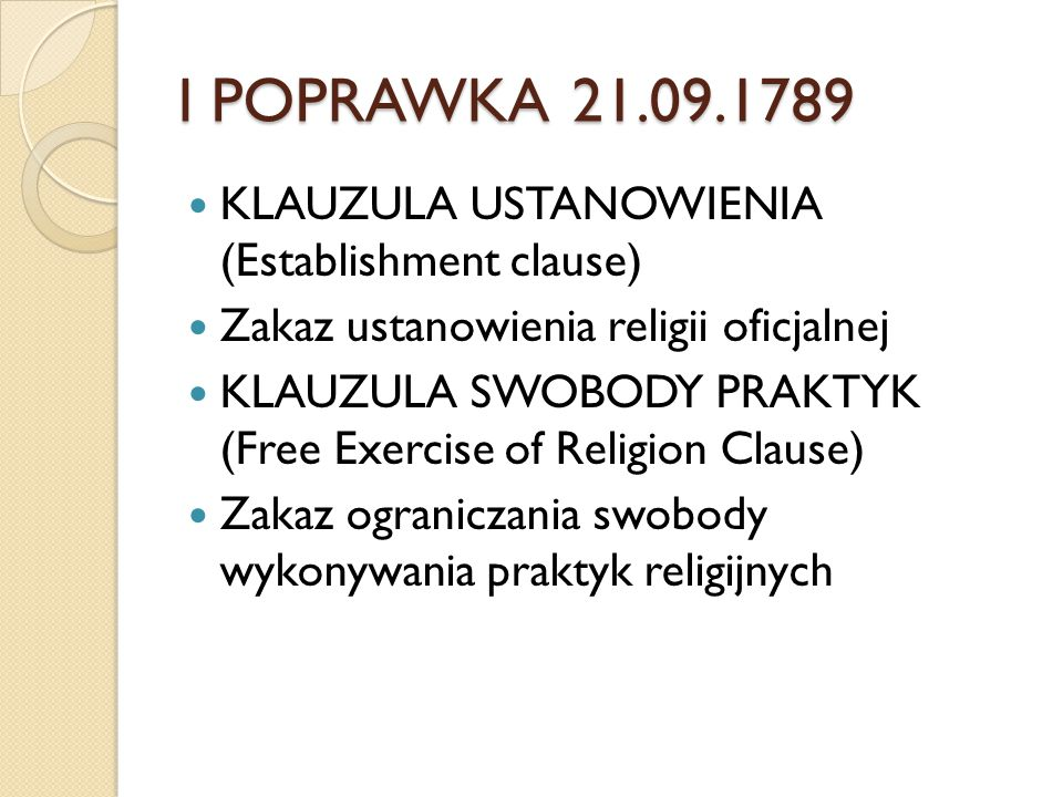 I POPRAWKA 21.09.1789 KLAUZULA USTANOWIENIA (Establishment clause)