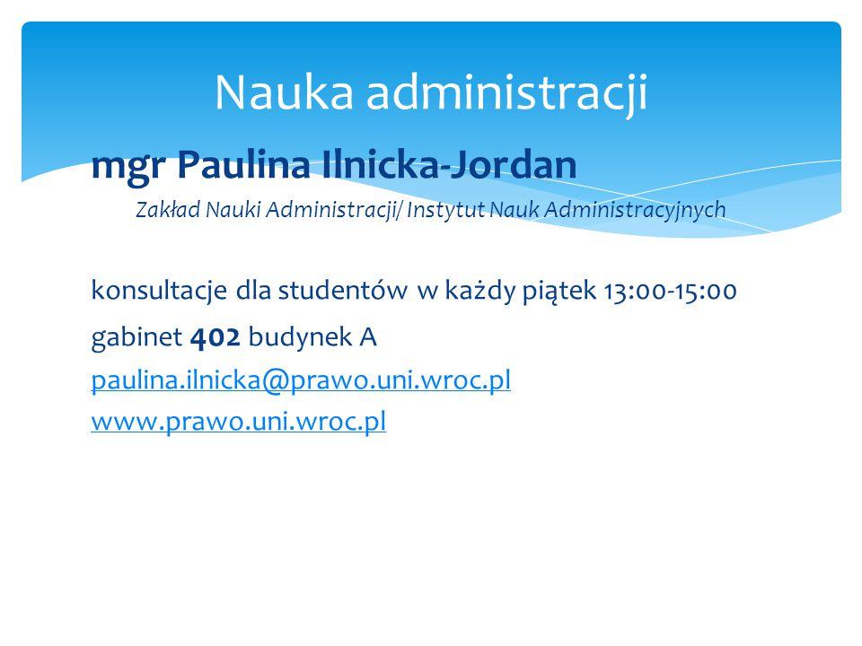 Zakład Nauki Administracji/ Instytut Nauk Administracyjnych
