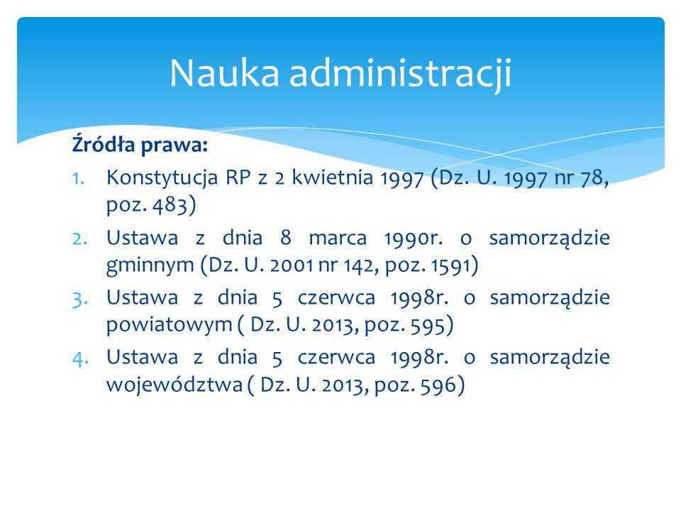 Nauka administracji Źródła prawa: