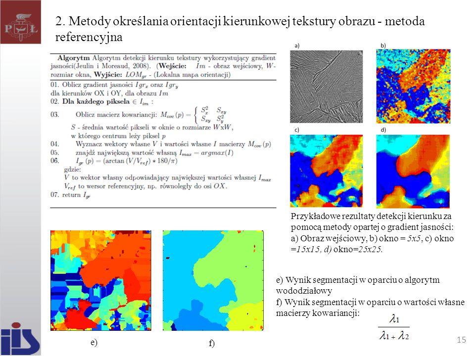 2. Metody określania orientacji kierunkowej tekstury obrazu - metoda referencyjna