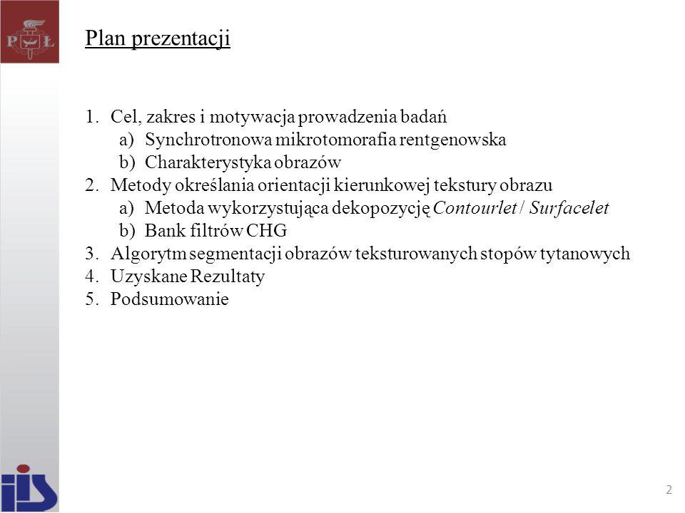 Plan prezentacji Cel, zakres i motywacja prowadzenia badań
