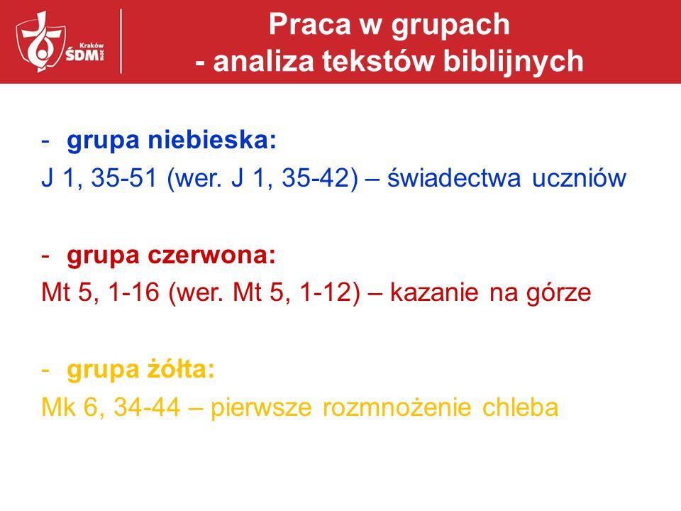 Praca w grupach - analiza tekstów biblijnych