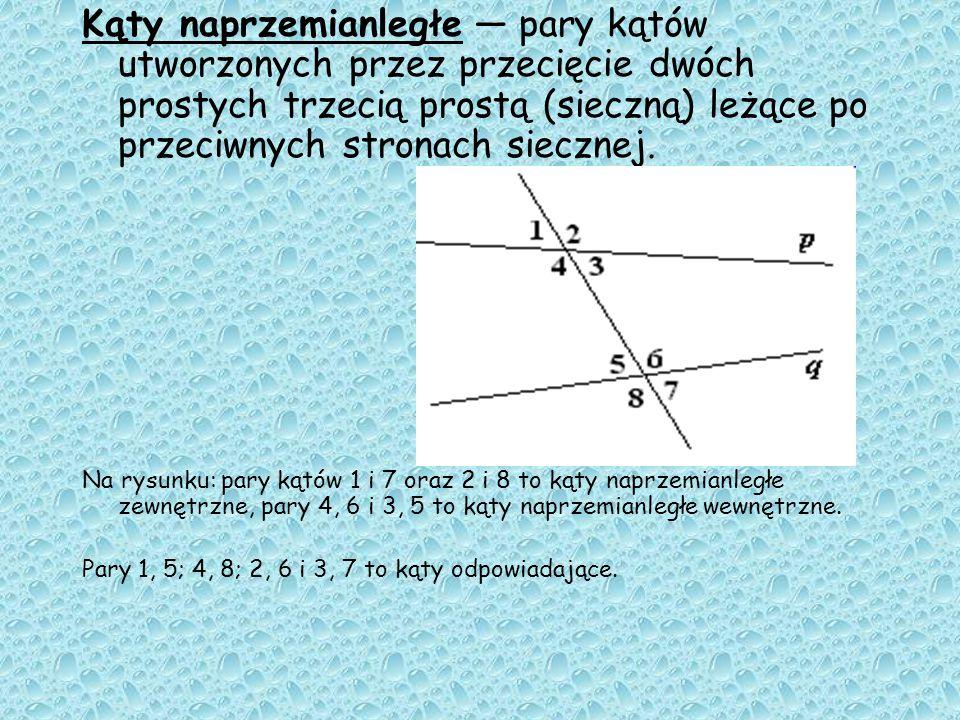 Kąty naprzemianległe — pary kątów utworzonych przez przecięcie dwóch prostych trzecią prostą (sieczną) leżące po przeciwnych stronach siecznej.