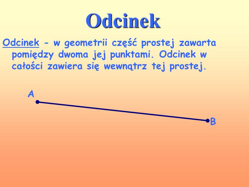 Odcinek Odcinek - w geometrii część prostej zawarta pomiędzy dwoma jej punktami. Odcinek w całości zawiera się wewnątrz tej prostej.