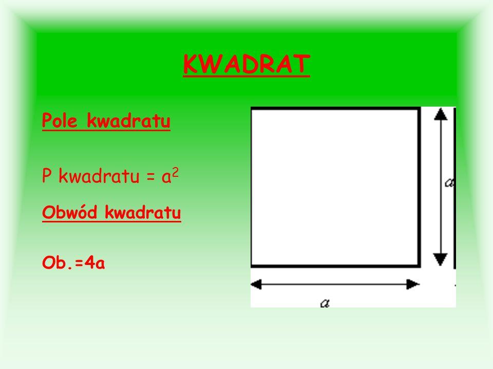 KWADRAT Pole kwadratu P kwadratu = a2 Obwód kwadratu Ob.=4a