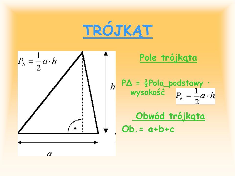 TRÓJKĄT Pole trójkąta Obwód trójkąta Ob.= a+b+c