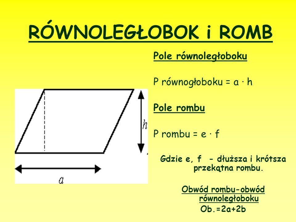 RÓWNOLEGŁOBOK i ROMB Pole równoległoboku P równogłoboku = a ∙ h