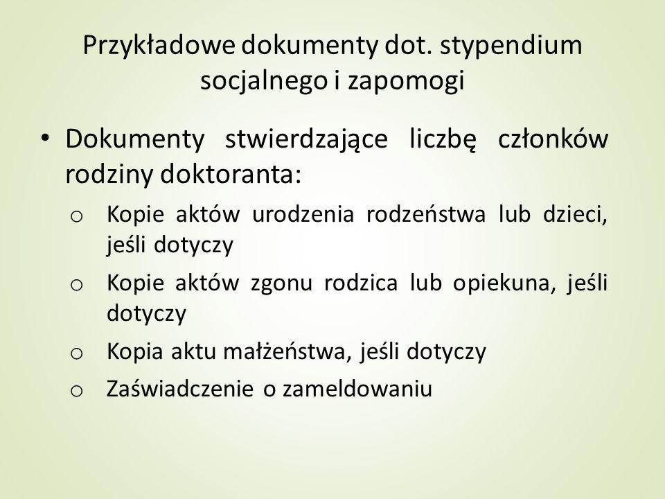 Przykładowe dokumenty dot. stypendium socjalnego i zapomogi
