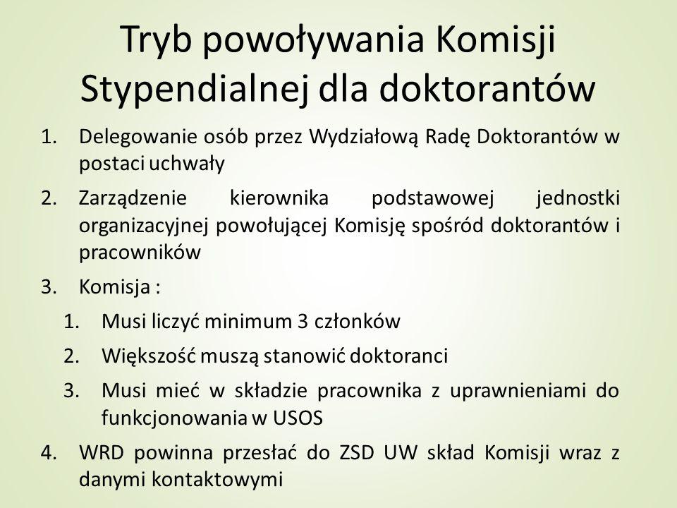 Tryb powoływania Komisji Stypendialnej dla doktorantów