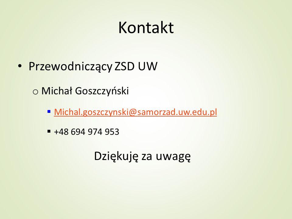 Kontakt Przewodniczący ZSD UW Dziękuję za uwagę Michał Goszczyński