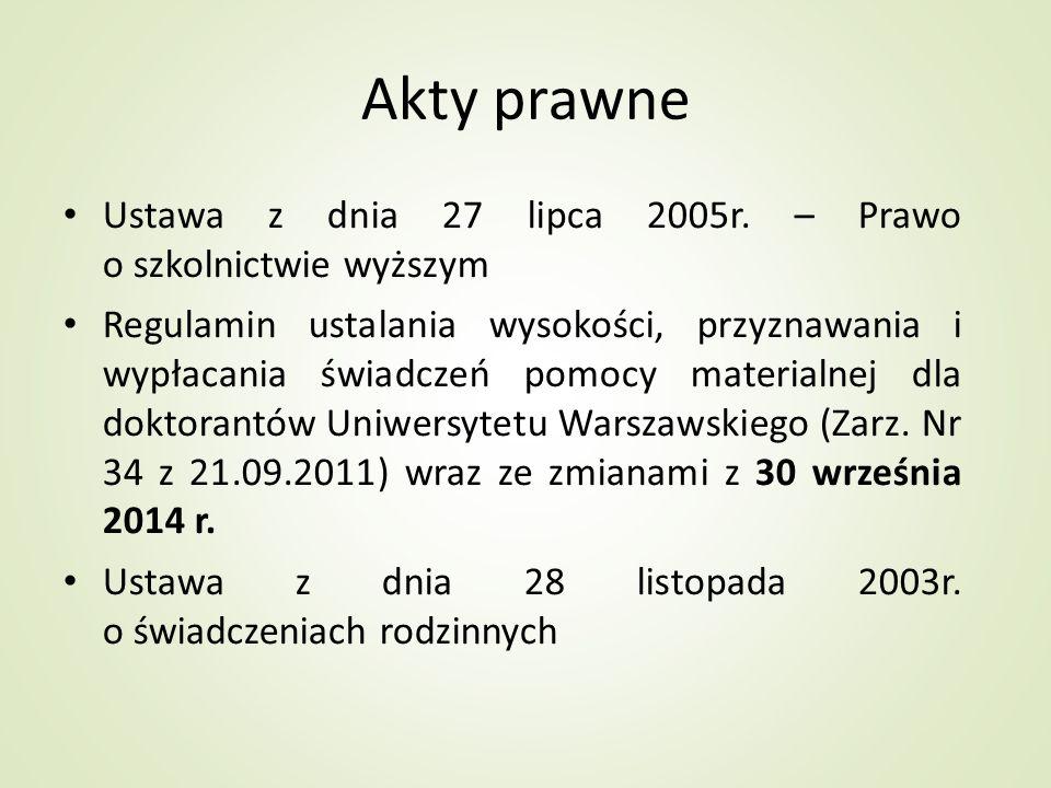 Akty prawne Ustawa z dnia 27 lipca 2005r. – Prawo o szkolnictwie wyższym.