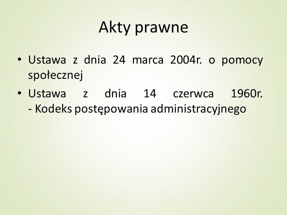 Akty prawne Ustawa z dnia 24 marca 2004r. o pomocy społecznej