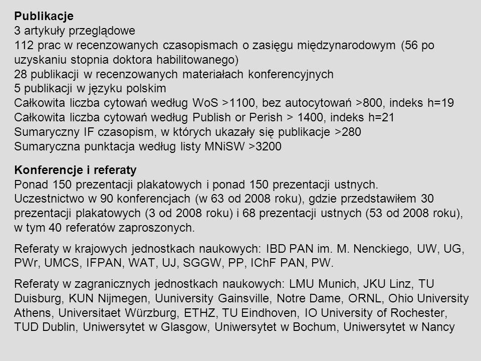 Publikacje 3 artykuły przeglądowe. 112 prac w recenzowanych czasopismach o zasięgu międzynarodowym (56 po uzyskaniu stopnia doktora habilitowanego)