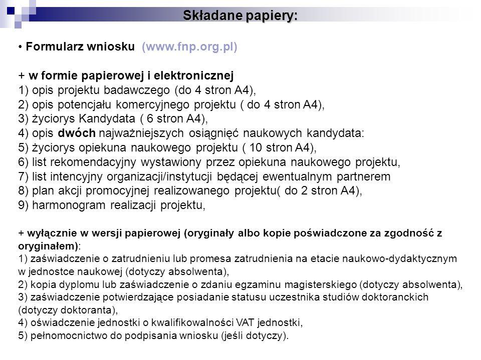 Składane papiery: Formularz wniosku (www.fnp.org.pl)