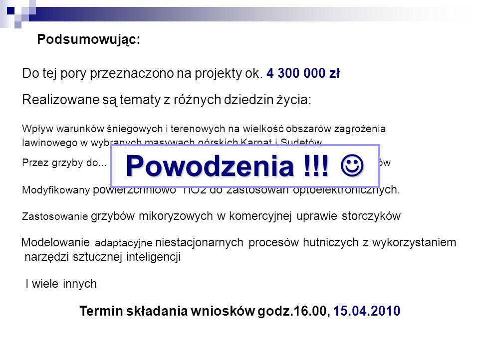 Termin składania wniosków godz.16.00, 15.04.2010