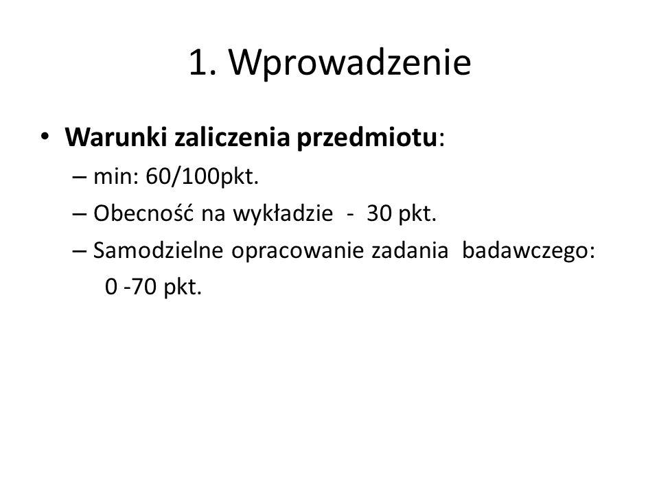 1. Wprowadzenie Warunki zaliczenia przedmiotu: min: 60/100pkt.