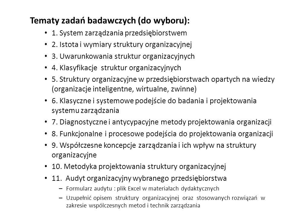 Tematy zadań badawczych (do wyboru):