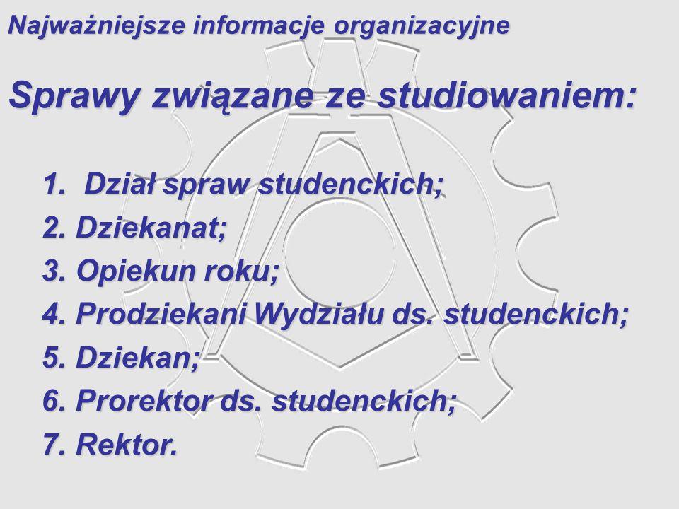 Najważniejsze informacje organizacyjne
