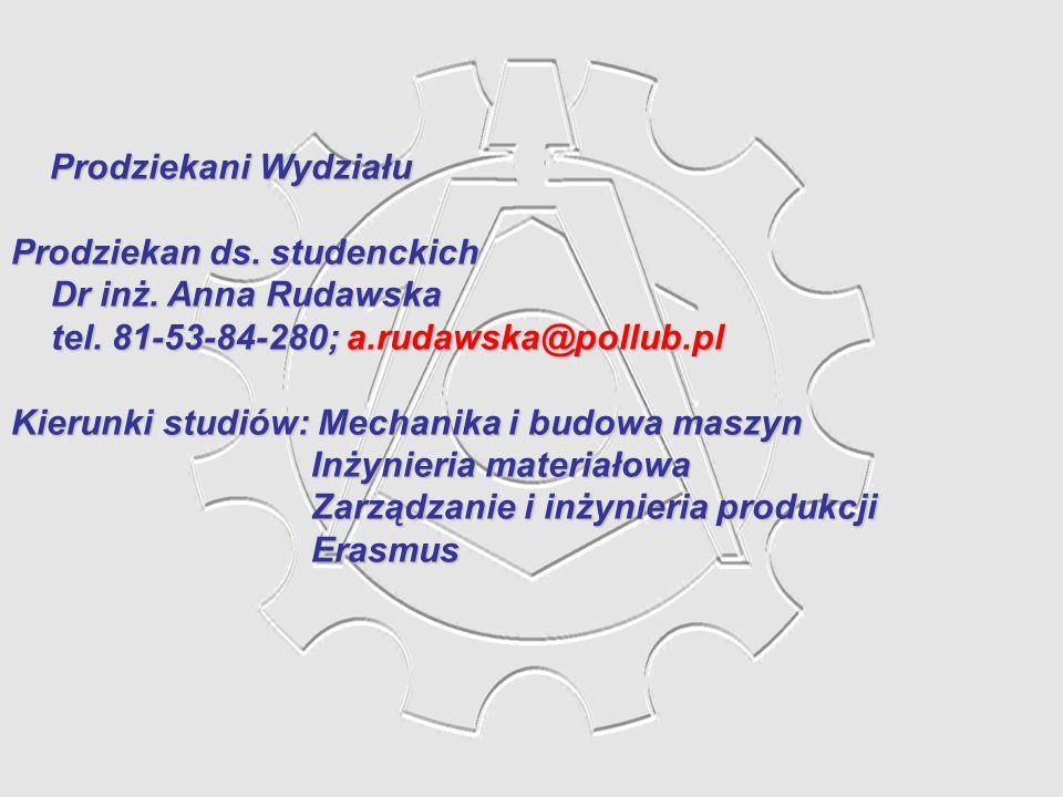 Prodziekani Wydziału Prodziekan ds. studenckich. Dr inż. Anna Rudawska. tel. 81-53-84-280; a.rudawska@pollub.pl.